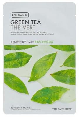 Маска с экстрактом зеленого чая THE FACE SHOP Real nature mask sheet GREEN TEA 20г.: фото