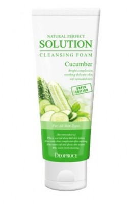 Пенка для умывания с огурцом DEOPROCE Natural perfect solution cleansing foam green edition cucumber 170г: фото