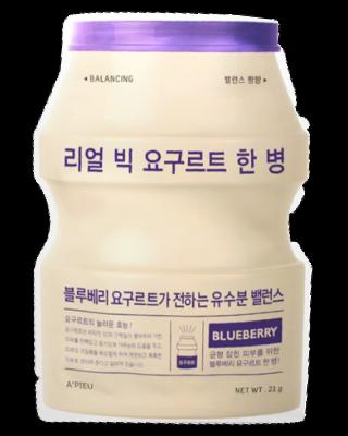 Тканевая маска йогуртовая с голубикой A'PIEU Real Big Yogurt One-Bottle Blueberry 21мл: фото