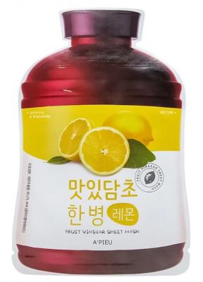 Тканевая маска с экстрактом лимона A'PIEU Fruit Vinegar Sheet Mask Lemon 20мл: фото