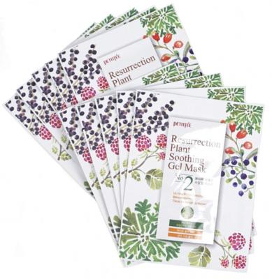 Маска тканевая с растительными экстрактами Petitfee Ressurection Plant Soothing Gel Mask 30г*10: фото