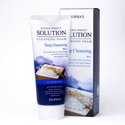 Пенка для умывания рисовая вода DEOPROCE NATURAL PERFECT SOLUTION CLEANSING FOAM DEEP CLEANSING 170г: фото