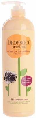 Шампунь-бальзам 2в1 бобы DEOPROCE ORIGINAL HAIR ROOT CARE 2IN1 SHAMPOO BLACK BEAN 1000мл: фото