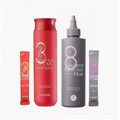 Набор с кератином и коллагеном MASIL 38 SET: шампунь 300мл+8мл + маска для волос 200мл+8мл: фото